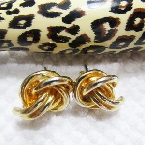 Jewelry - Two Rope Knot, Goldtone Pierced Earrings